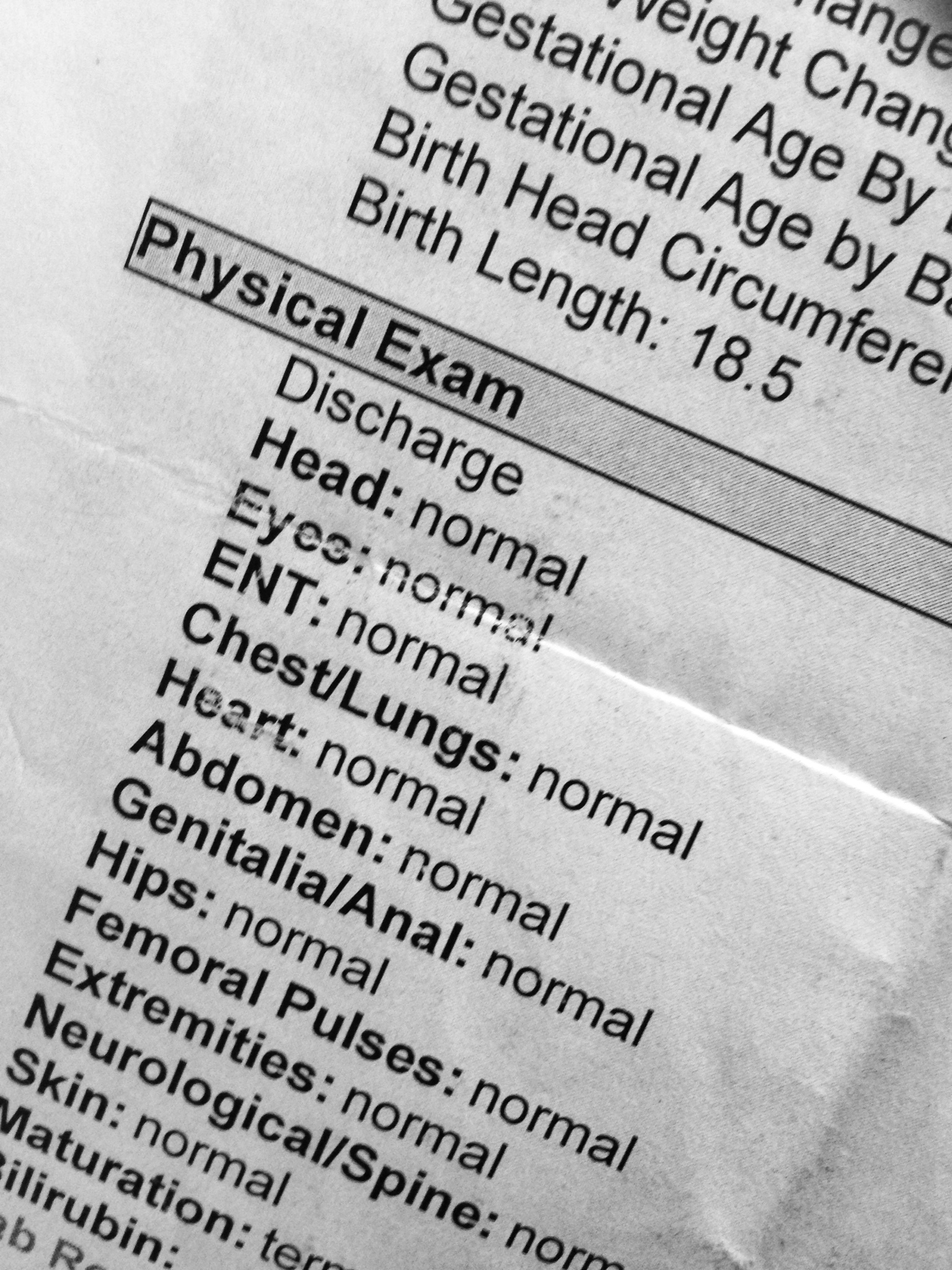 Physical examination and b discharge summary