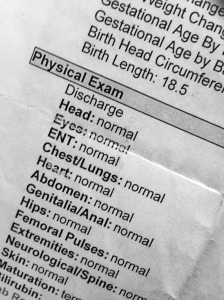 "Physical Exam summary. A list of body parts are listed. Beside each is the word ""normal."""