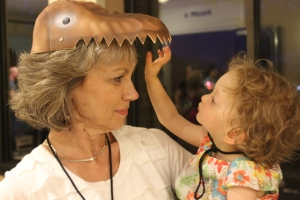 Fiona and her grandmother in a dinosaur hat.