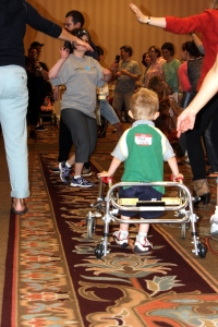Fiona's friend dancing with his walker
