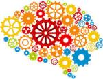 [Image description: A brain made up of yellow, green, orange, blue, and red cogs and wheels of varying sizes.]